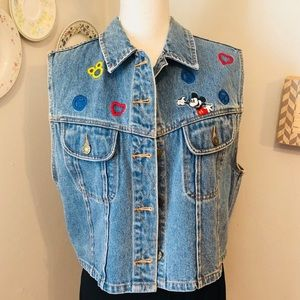 Disney Embroidered Peace, Love & Mickey Mouse Vest